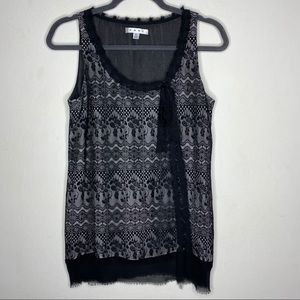 Cabi Black Emily Lace overlay top Sz S